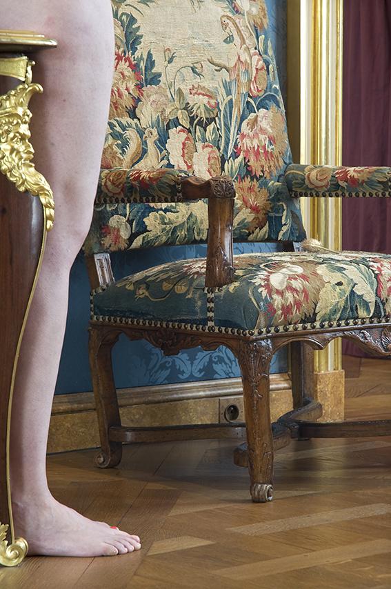 Bureau plat d'André-Charles Boulle (XVIIIe siècle), Aude, fauteuil garni. Musée de la Chasse et de la Nature. 2012
