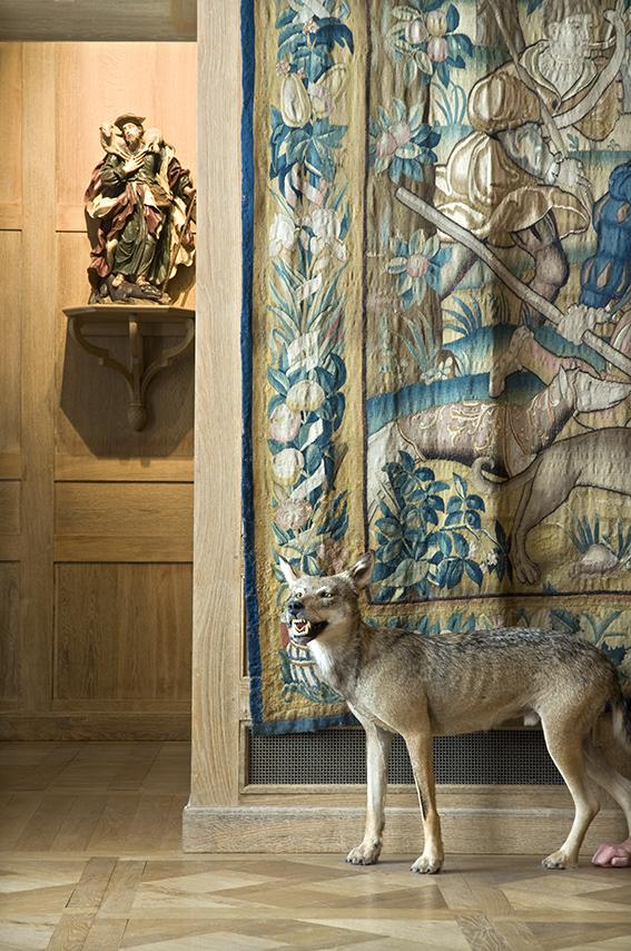 Loup naturalisé, Le Bon Pasteur terrassant un loup attribué à Lengelacher (vers 1750), Julien, tapisserie Chasse au loup (atelier des Flandres, fin XVIe siècle). Musée de la Chasse et de la Nature. 2012