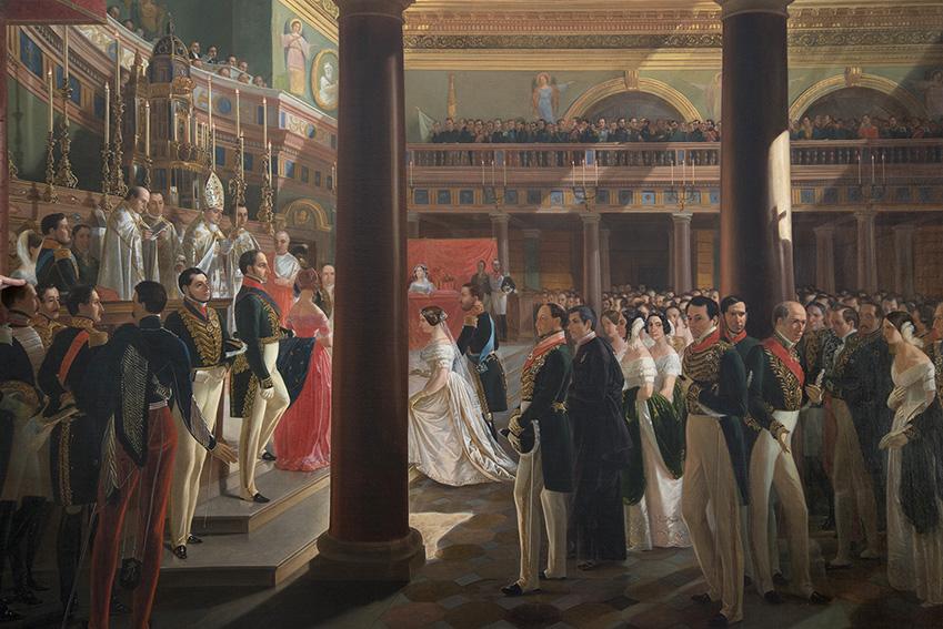 Casamento por procuração da imperatriz d. Teresa (1846) por Alessandro Ciccarelli (1811-1879), Françoise, a cerimônia foi realizada na Capela Real Palatina, em Nápoles (Itália), a 30 de maio de 1843. Museu Imperial/Ibram/MinC/2015