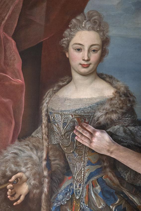Portrait de Livia Centurione, épouse d'Andrea Doria, portant un manteau importé de France du XVIIIe siècle, Julien. Villa del Principe, Palais d'Andrea Doria, appartements privés, 2016