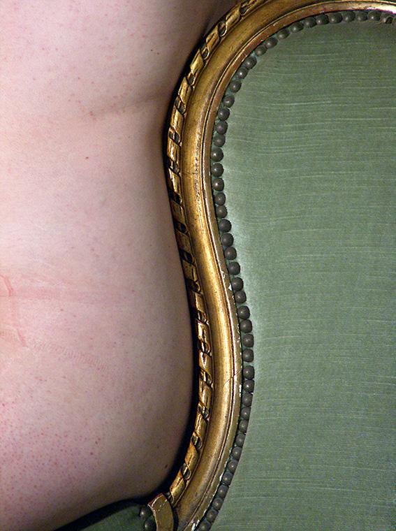 Bergère à oreilles en bois doré mouluré, frise de rubans, style Louis XVI. Aude. 2005