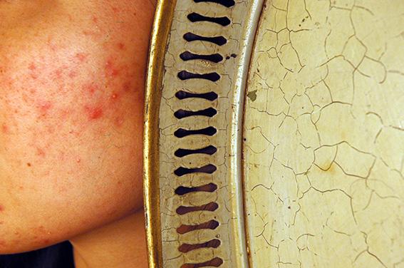 Plateau peint avec bordures dorées. Elisa. 2006