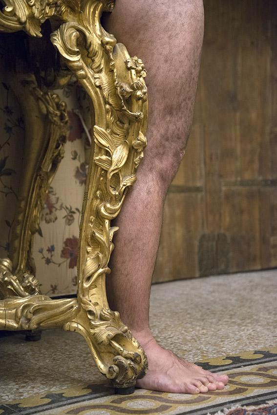 Console dorée richement sculptée du XVIIIe siècle, Léopold. Villa del Principe, Palais d'Andrea Doria, appartements privés, 2016