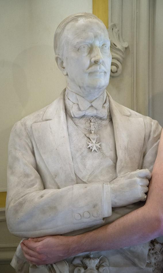 Buste d'Alfonso Doria Pamphilj (1851-1914) par Giulio Tontolini, 1915, Julien. Palais Doria Pamphilj, appartements privés, 2016