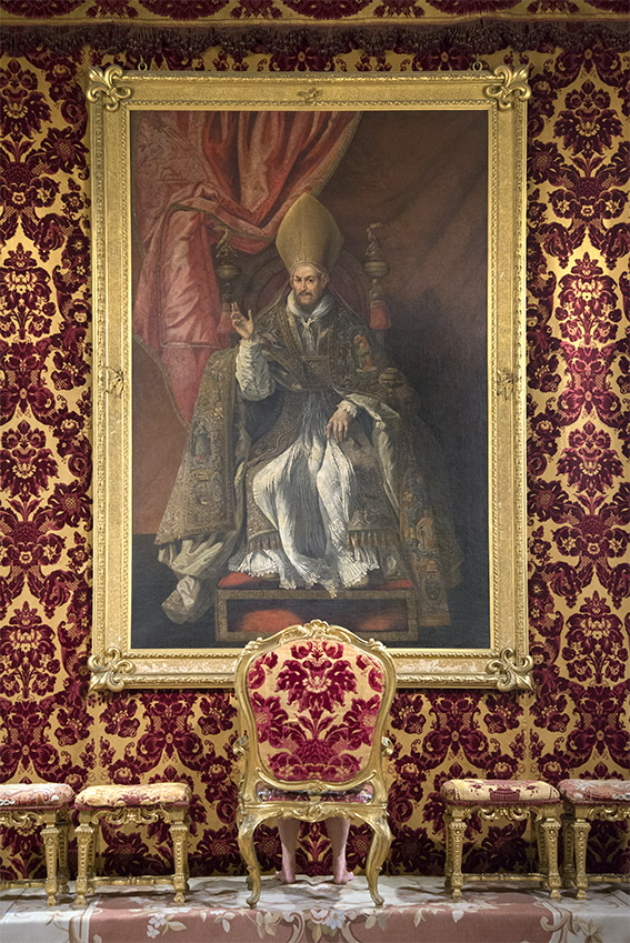 Giovanni Battista Pamphilj (1574-1655), Pape Innocent X, de Pietro Martire Neri (vers 1644), Françoise, trône du Pape du XVIIIe siècle. Palais Doria Pamphilj, appartements privés, 2016