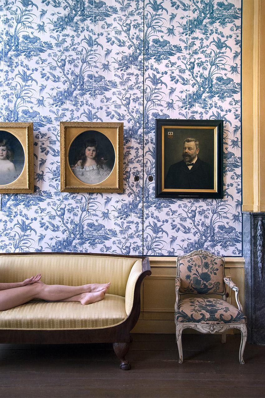 Biedermeier canapé (19th century), portrait of Louise Marguérite van Loon by Thérèse Schwartze (1894), Juliette, Louis XV armchair (ca. 1750). Museum Van Loon. 2018