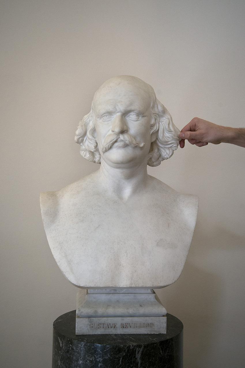 Buste en marbre de Gustave Revilliod vers 1860-70 de Luigi Guglielmi, Julien. Musée Ariana, Ville de Genève. 2018